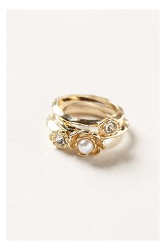 Anthropologie Floret Pearl Stacking Rings