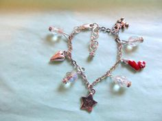 Adjustable Silver Baby / Little Girl's First Charm Bracelet, Heart, Teddy Bear, Star, Heart, Crystals, Rhinestones Gift
