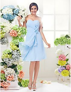 Lanting Knee-length Georgette Bridesmaid Dress - Sky Blue Plus Sizes / Petite A-line Sweetheart