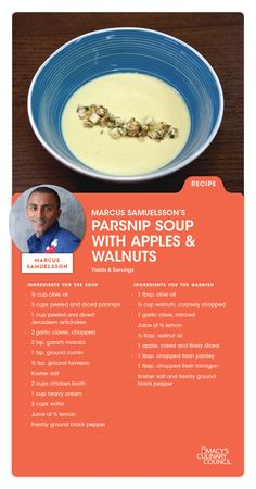 Macy's Culinary Council Chef Marcus Samuelsson's Parsnip Soup with Apples & Walnuts