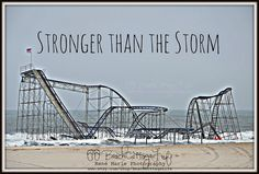 Items similar to Framed & Matted Stronger than the Storm (Sandy East Coast Healing Roller Coaster Seaside Heights Park Boardwalk, New Jersey) on Etsy Jersey Girl, New Jersey, Storm News, Seaside Heights, Missing Home, Hurricane Sandy, Beach Cottages, Ocean Beach, Roller Coaster