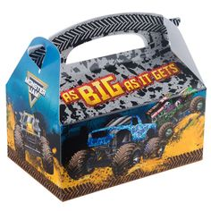 Check out Monster Jam Favor Box from Wholesale Party Supplies Monster Jam Toys, Monster Trucks, Monster Truck Birthday, Boy Birthday Parties, Birthday Party Favors, 3rd Birthday, Birthday Ideas, Monster Jam Party Supplies, Jam Favors