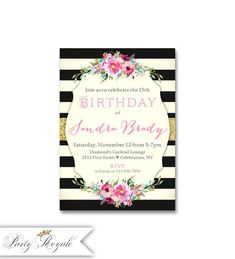 Élégant 25 Invitations d'anniversaire, fête d'anniversaire adulte Invitations dîner d'anniversaire pour une femme, Surprise 25 fête d'anniversaire, tout âge #printables #invitations #printableinvitations #anniversaire #anniversary #cards #mariage #wedding #diy #diycrafts