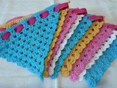 Crochet bunting love the use of ribbon