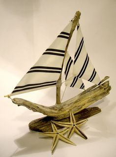Striped Driftwood Sailboat by purestylecrafts on Etsy, £20.00