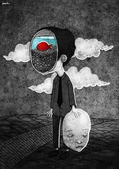 illustration art - an evocatively sad illustration in black and white with an undertone of melancholy with themes of personal identity and mental health, hiding how you feel. A character has taken off their face to reveal a contrasting goldfish in blue water against the bleak surroundings. #biblioteques_UVEG