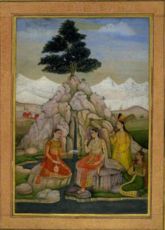 A princess taking refreshment beside a river with attendants. Behind, triangular rocks, crowned by large ficus tree and snowy mountains.       Mughal Style   Culture/period      Mughal dynasty.  Date      1650 (circa)