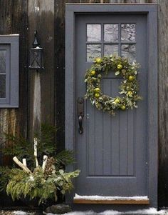 Front Door Paint Colors - Want a quick makeover? Paint your front door a different color. Here a pretty front door color ideas to improve your home's curb appeal and add more style! Exterior Doors, Entry Doors, Interior And Exterior, Porch Doors, Exterior Design, Garage Entry Door, Pintura Exterior, Grey Front Doors, Painted Front Doors