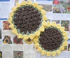 Crochet Sunflower Dish or Wash Cloth Free Pattern Crochet Potholders, Crochet Motif, Crochet Designs, Free Crochet, Knit Crochet, Crochet Patterns, Washcloth Crochet, Knitting Patterns, Crochet Home