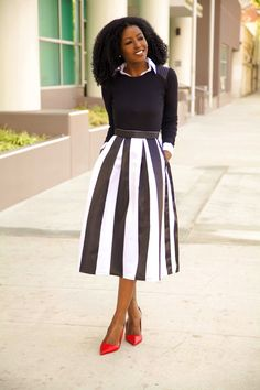 Long Sleeve Tee + Button-Up Shirt + Striped Midi Skirt from StylePantry
