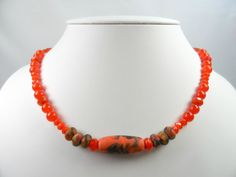 Bright Orange and Black Lampwork Set of 7 in Beaded Brass Necklace - 22 Inch Length