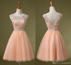 Charming Peach Pink Crystal Homecoming Short Prom Dresses Homecoming Dresses | Buy Wholesale On Line Direct from China