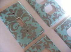 Tiffany Blue and Silver Damask Single LIght by COUTURELIGHTPLATES, $13.00