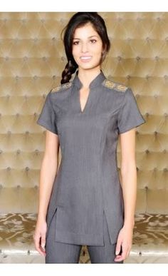 Holly - Grey beauty tunic with v neck opening and flattering panels. Embeelished shoulders with sequin detailing. Healthcare Uniforms, Staff Uniforms, Medical Uniforms, Work Uniforms, Salon Uniform, Spa Uniform, Scrubs Uniform, Beauty Tunics, Beauty Uniforms