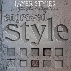 Photoshop Layer Styles - Designer Gems -  ENGRAVED - 1 Photoshop Style file (.ASL) containing 10 unique Styles to add to your Text.