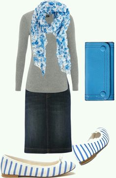 Like the shirt, scarf, and skirt. Shoes are a bit much. The wallet is not necessary