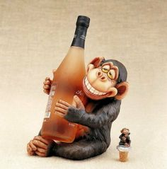 """Monkey Wine bottle holder free bottle topper by Yuma Enterprises. $39.99. Welcome to Marcel Home Decor Gift! We are very pleased to present a collection of this Monkey wine holder bring a touch of tropical decor to your dinning room or kitchen this beautiful wine holder delightful handpainted resin it measure 9""""H and you get a free bottle topper(wine bottle not included)"""