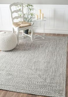 living room // Rugs USA - Area Rugs in many styles including Contemporary, Braided, Outdoor and Flokati Shag rugs.Buy Rugs At America's Home Decorating SuperstoreArea Rugs Coastal Living Rooms, Living Room Grey, Rugs In Living Room, Living Room Decor, Dining Room Rugs, Farmhouse Dining Room Rug, Coastal Area Rugs, Dining Table, Cottage Living