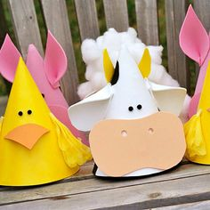Let kids make their own party favors with this easy craft. How to Make the Party Hats: Start white, pink, and yellow party hats for cows, pigs, and ducks. Then cut pieces of crafts foam in eye, ear, beak, and nose shapes. Glue the shapes onto the hats, and embellish with small pom-poms, cotton balls, and tissue paper.