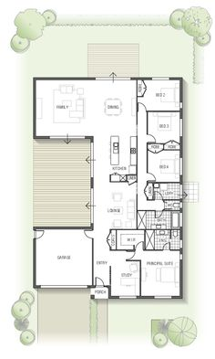 floor plan - Kamala 1832 From the Arise Collection House Layout Plans, New House Plans, Dream House Plans, Modern House Plans, Small House Plans, House Layouts, Modern House Design, House Floor Plans, Courtyard House Plans