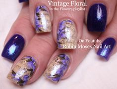 Nail Art Tutorial DIY Sharpie Nails | Vintage Purple Flower Nail Design