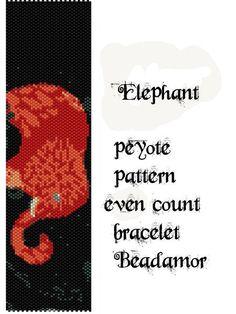 Peyote Pattern for bracelet: Elephant - INSTANT DOWNLOAD pdf by Beadamor on Etsy