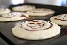 Cinamon Roll Pancakes; melt butter, cinamon, and sugar together. Squeeze into batter on griddle.