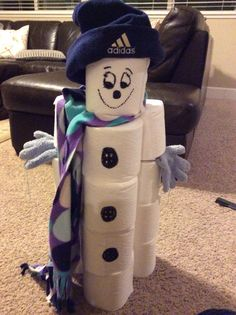 Snowman bowling using toilet paper. I stole this idea from someone else and used this in singing time. I had someone build the snowman but only if the kids were singing well. Lds primary singing time ideas.