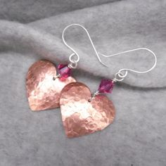Copper Heart Dangle Earrings, Drop Earrings, Heart Earrings, Hammered Hearts on Etsy, $25.00