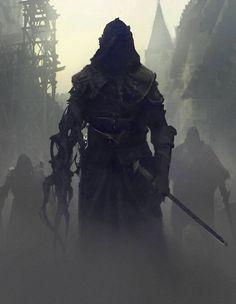 Dark warrior, fighter sword, fantasy art slayer dungeons and dragons, hayal Dark Fantasy Art, Fantasy Artwork, High Fantasy, Fantasy World, Dark Art, Fantasy Series, Dark Souls, Ninja Kunst, Fantasy Character Design