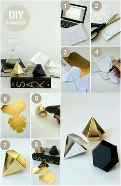 DIY diamond. Mylar Letter Balloons, Diamond Template, Diy Paper, Paper Crafts, Fun Arts And Crafts, Diy Gift Box, Diy Origami, Pinterest Diy, Box Design
