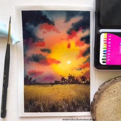 Watercolor Painting Ideas for Beginners - Modern Watercolor Scenery, Watercolor Paintings Nature, Watercolor Paintings For Beginners, Watercolor Portraits, Watercolor Artists, Watercolor Bird, Watercolors, Watercolor Beginner, Watercolor Video
