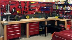 A Santa approved workshop good enough to be Santa's own North Pole workshop featuring Wall Control's Red Metal Pegboard. Wall Control's wide range of metal pegboard colors allows you to add some contrast to your workspace and give it a custom, unique look and feel. Thanks for the great customer photo Scott! #WallControl #santaworkshop #pegboards