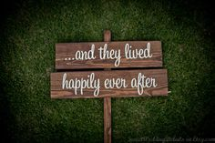 "Rustic Wedding Signs, ""...and they lived happily ever after"""