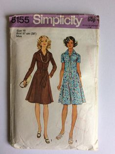 Vintage 70s Simplicity Sewing Pattern 6155 - Size 16 - Bust 38 inches - Vintage Dress Sewing Pattern - Vintage Day Dress