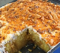 If you are looking to be taken to another world of deliciousness, you should definitely try this butterfinger cake. It's so amazing you won't believe the taste.    You'll need:    1 box of yellow cake mix (eggs, oil,