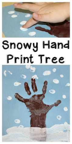 Let the kids use their hands to make this easy winter hand print tree art! A simple winter craft for preschoolers to make using their hand prints.