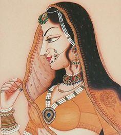 Rajput Princess (Reprint on Paper - Unframed) Rajasthani Miniature Paintings, Rajasthani Painting, Rajasthani Art, Mughal Paintings, Indian Art Paintings, Madhubani Art, Madhubani Painting, Krishna Painting, Krishna Art