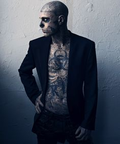 Rick Genest although some of his Tattoos seem anatomically inaccurate, I still love it