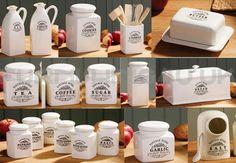 breakfast  ceramic   dishes | Brand New Cream Vintage Home Breakfast Storage Canisters Jars Pots Tea ...