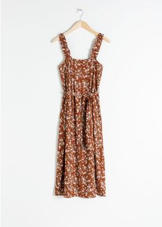 Ruffle Strap Midi Dress - Brown Floral - Midi dresses - & Other Stories Pink Midi Dress, Floral Maxi Dress, Yellow Dress, Party Dresses Online, Midi Dresses Online, Date Night Dresses, Summer Dresses, Brown Floral, Date Outfits
