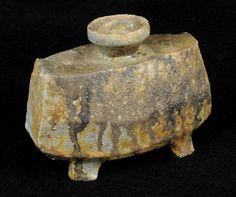 "Reiko Cohen     ""Vase26a"". Wood-fired ceramic (6""w x 3""d x 5""h)."