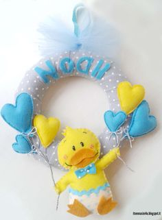 Fiocco Nascita pannolenci Azzurro #newborn #papero #fiocconascita #itommasini4u