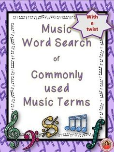 ♫ The puzzle contains 20 commonly used music theory terms hidden in a word search. But there is a twist......... ♫ Students need to know the answers to the clues provided to discover what words are hidden in the word search!