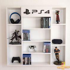 Estantería de pared para juegos donde podrás colocar toda tu colección de videojuegos,¡con 6 compartimentos para colocar incluso tus figuras!