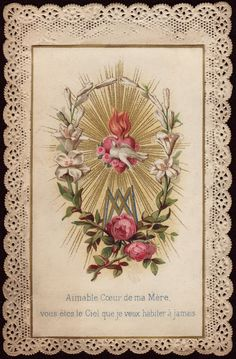 Sacred Heart of Jesus Blessed Mother Mary, Blessed Virgin Mary, Religious Images, Religious Art, Jesus And Mary Pictures, Jesus E Maria, Funeral Cards, Vintage Holy Cards, Spiritus