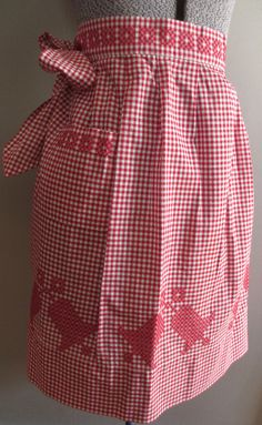 Red White Gingham Apron - Christmas Bells Design - Farmhouse Chicken Scratch Embroidery Cotton Fabric - Handmade - Rockabilly,  Cottage