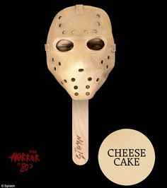 Flavoured fear: Each 'ice scream' comes in a different flavour such as the psychopath Jason Voorhees wearing the instantly recognisable hockey mask from the Friday the 13th slasher series is available in cheese cake flavour