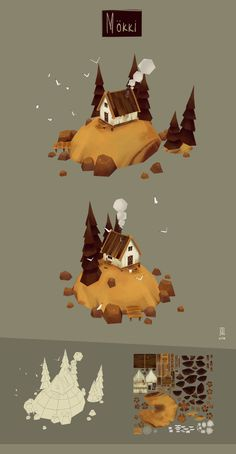Summer cottage model and hand painted textures Environment Concept Art, Environment Design, Drawing Heart, Low Poly Games, Animation Background, 3d Animation, Polygon Art, Hand Painted Textures, Cartoons