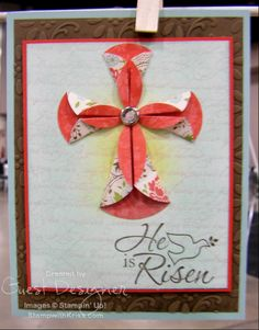 Leadership Convention 2012 origami flower pedals shaped into a cross) Easter card New Home Cards, Christian Cards, Card Making Inspiration, Sympathy Cards, Creative Cards, Greeting Cards Handmade, Scrapbook Cards, Homemade Cards, Stampin Up Cards
